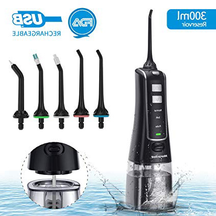 Irrigador Bucal Portátil 300ml, 3 Modos de Presión Ajustable Irrigador Dental 5 Boquillas USB Recargable IPX7 Tanque Desmontable Irrigador Bucal de Viaje perfecto para Higiene Dental Regalo Familiar