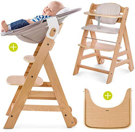 Hauck Beta Plus Newborn Set - Trona de madera evolutiva bebés, incluye hamaca para recién nacidos, cojín, bandeja, altura regulable - color Nature/Beige