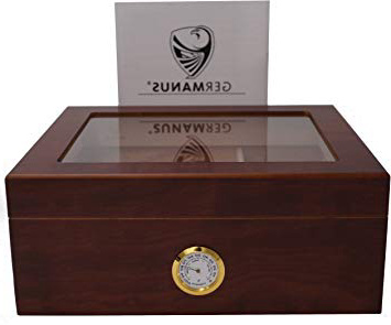 GERMANUS Humidor de Puros Classic Desk con Higrómetro y Humidificador y el Manual Germanus Libro en Marrón