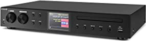 AUNA iTuner CD - Receptor HiFi, Radio de Internet, WLAN, Spotify Connect, Sintonizador Dab+ FM, Reproductor de CD, Puerto USB, MP3, Pantalla TFT Color, Frontal de Acero Inoxidable, Negro